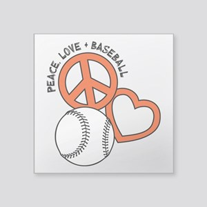 """PEACE-LOVE-BASEBALL Square Sticker 3"""" x 3"""""""