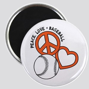 PEACE-LOVE-BASEBALL Magnet