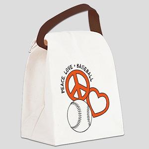 PEACE-LOVE-BASEBALL Canvas Lunch Bag