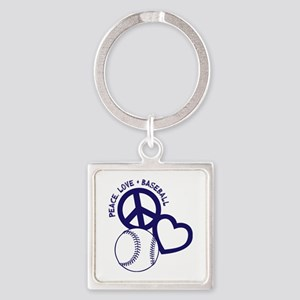 PEACE-LOVE-BASEBALL Square Keychain