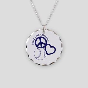 PEACE-LOVE-BASEBALL Necklace Circle Charm