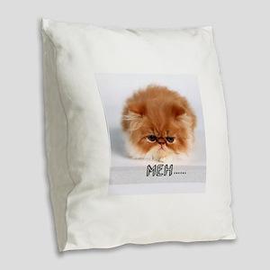 meh mad cat Burlap Throw Pillow