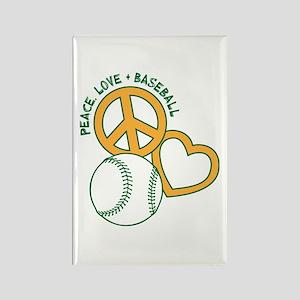 PEACE-LOVE-BASEBALL Rectangle Magnet