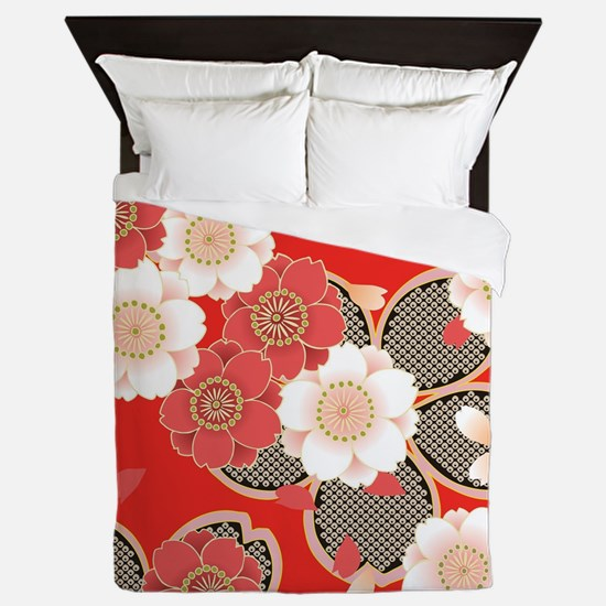 Funny Cherry blossom red Queen Duvet