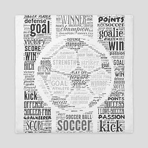Soccer Word Art Queen Duvet