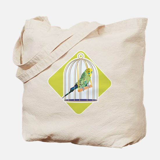 Parakeet in Bird Cage Tote Bag