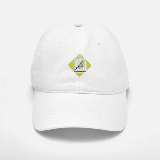 Parakeet in Bird Cage Baseball Baseball Cap