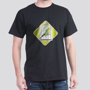 Parakeet in Bird Cage Dark T-Shirt