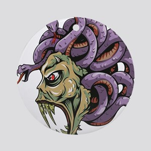 Monster Medusa with Snakes Round Ornament