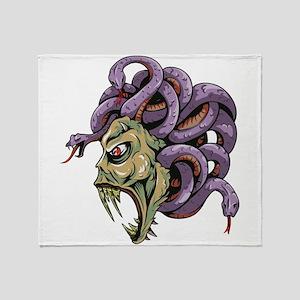 Monster Medusa with Snakes Throw Blanket