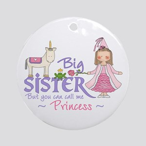 Unicorn Princess Big Sister Ornament (Round)