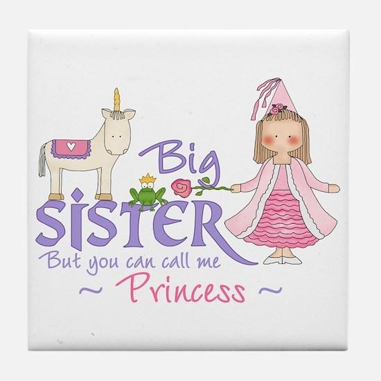 Unicorn Princess Big Sister Tile Coaster