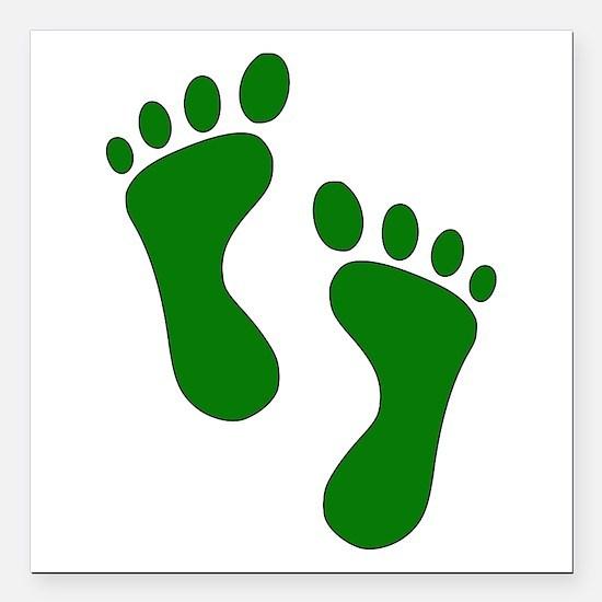 "Green Feet Square Car Magnet 3"" x 3"""