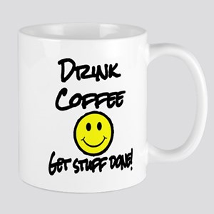 Drink Coffee get stuff done yellow smilie Mugs
