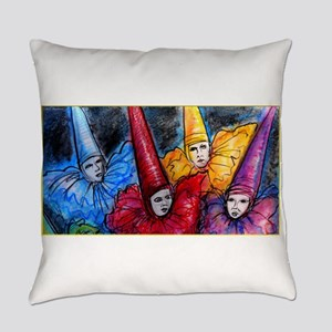 Colorful Clowns, art Everyday Pillow