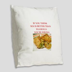 a funny food joke Burlap Throw Pillow