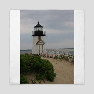 Brandt Point Lighthouse Nantucket MA Queen Duvet