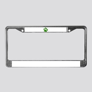 Green Cougar Track License Plate Frame