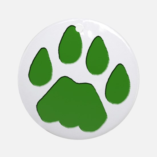 Green Cougar Track Ornament (Round)