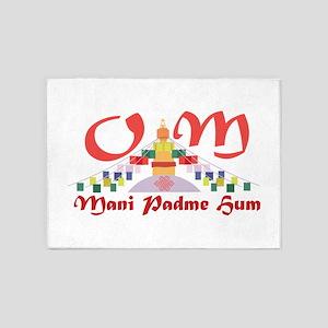 Om Mani Padme Hum 5'x7'Area Rug