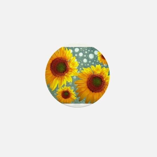 Happy Bubbly Sunflowers Mini Button