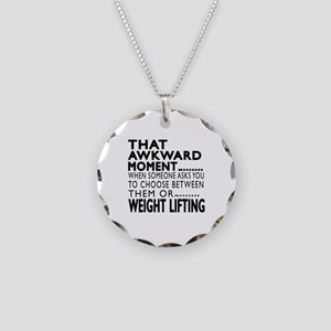 Weight Lifting Awkward Momen Necklace Circle Charm
