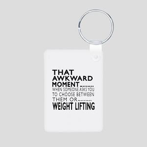 Weight Lifting Awkward Mom Aluminum Photo Keychain