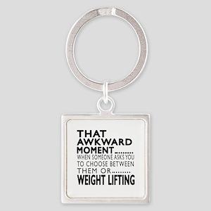 Weight Lifting Awkward Moment Desi Square Keychain