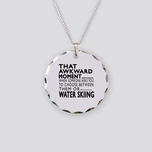 Water Skiing Awkward Moment Necklace Circle Charm