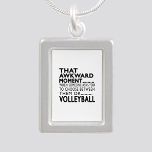 Volleyball Awkward Momen Silver Portrait Necklace