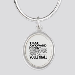 Volleyball Awkward Moment Des Silver Oval Necklace