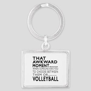Volleyball Awkward Moment Desig Landscape Keychain