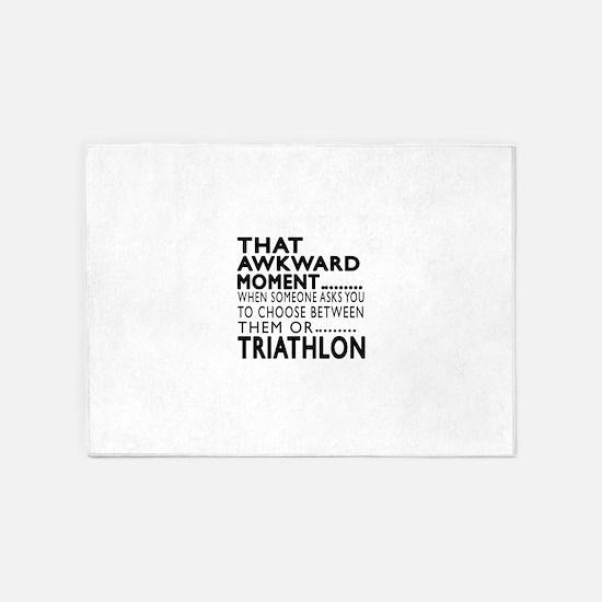 Triathlon Awkward Moment Designs 5'x7'Area Rug