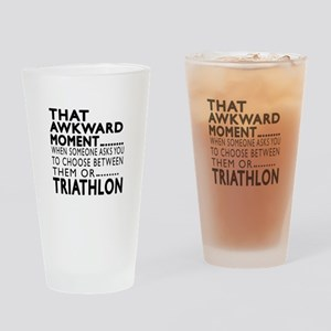 Triathlon Awkward Moment Designs Drinking Glass