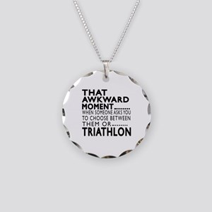 Triathlon Awkward Moment Des Necklace Circle Charm