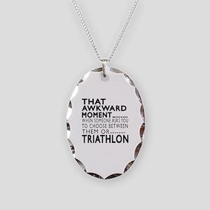 Triathlon Awkward Moment Desig Necklace Oval Charm