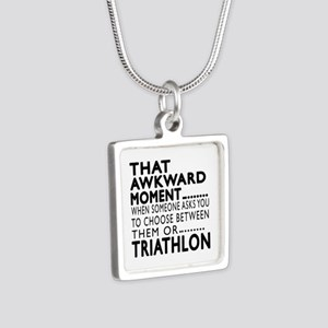 Triathlon Awkward Moment D Silver Square Necklace