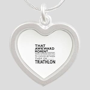 Triathlon Awkward Moment Des Silver Heart Necklace