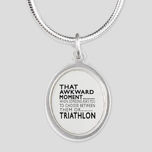 Triathlon Awkward Moment Desi Silver Oval Necklace