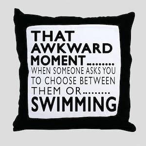 Swimming Awkward Moment Designs Throw Pillow