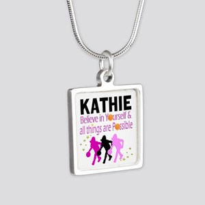 LOVE BASKETBALL Silver Square Necklace