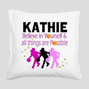 LOVE BASKETBALL Square Canvas Pillow