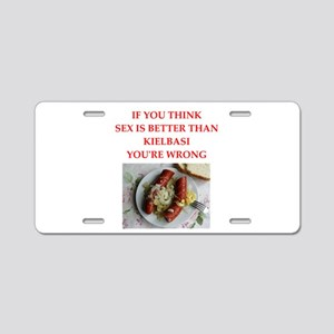 a funny food joke Aluminum License Plate