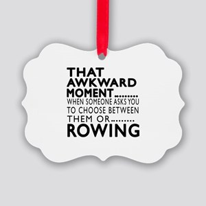 Rowing Awkward Moment Designs Picture Ornament