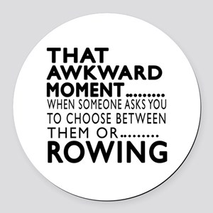 Rowing Awkward Moment Designs Round Car Magnet