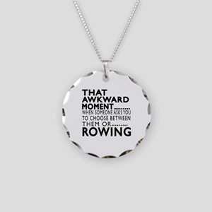 Rowing Awkward Moment Design Necklace Circle Charm