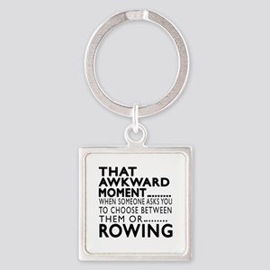 Rowing Awkward Moment Designs Square Keychain