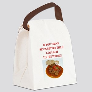 a funny food joke Canvas Lunch Bag