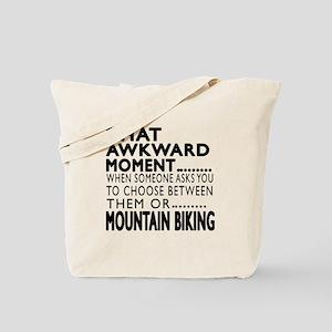 Mountain Biking Awkward Moment Designs Tote Bag
