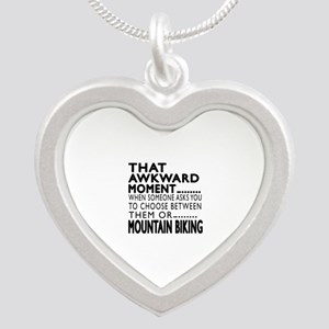 Mountain Biking Awkward Mome Silver Heart Necklace